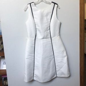 Quilted faux leather accent dress